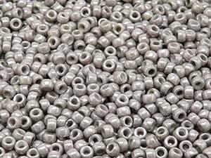 7 cuentas redondas de cristal Checa MATUBO/0 (3,5 mm) 10gr (aprox. 220 piezas) color: tiza Blanco Jet Luster