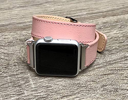 Rose Pink Leather Bracelet for Apple Watch All Series 38mm 40mm 42mm 44mm Handmade Wristband with 925 Sterling Silver Tree of Life Pendant iWatch Band Adjustable Double Wrap Leather Bracelet for Women