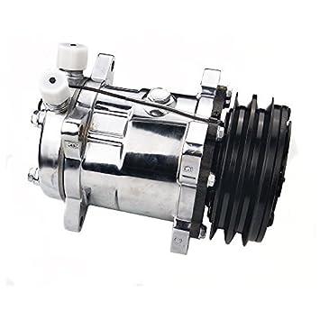 ACTECmax - Compresor universal de aire acondicionado con arena de embrague negra 2PK 508 5H14 R134A (cromo): Amazon.es: Coche y moto
