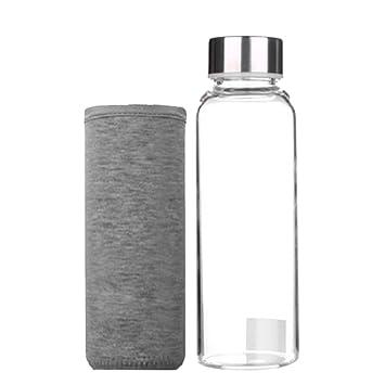 MagiDeal Botella Transparente de Agua Botella de Cristal para Deportes Aire Libre con Cubierta - Gris