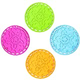 gel kitchen mats walmart Nattork Multi-use Trivet Mat Non slip Heat Resistant Hot Pads Set of 4 (round)