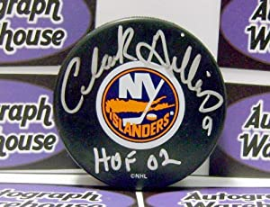 Autograph Warehouse 1890 Clark Gillies Autographed Hockey Puck New York Islanders Inscribed Hof 02