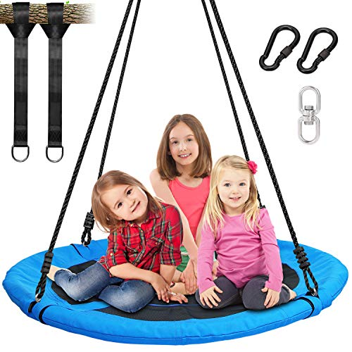 Trekassy 700lb 40 Inch Saucer Tree Swing for Kids Adults 900D Oxford Waterproof with 2pcs 10ft Tree Hanging Straps, Steel Frame and Adjustable Ropes