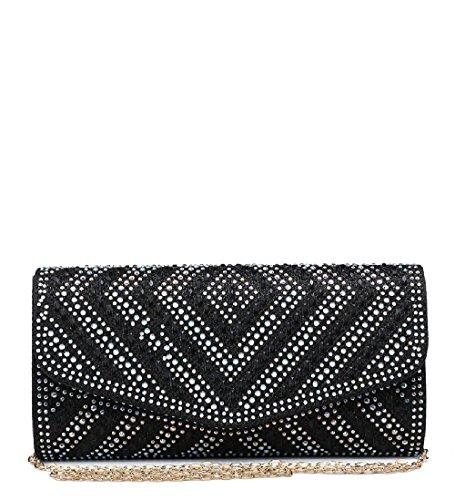 Ladies ME68029 Handbag Glitter Women's Clutch Diamante Bag Black Envelope Evening Party rr6wxqf1z