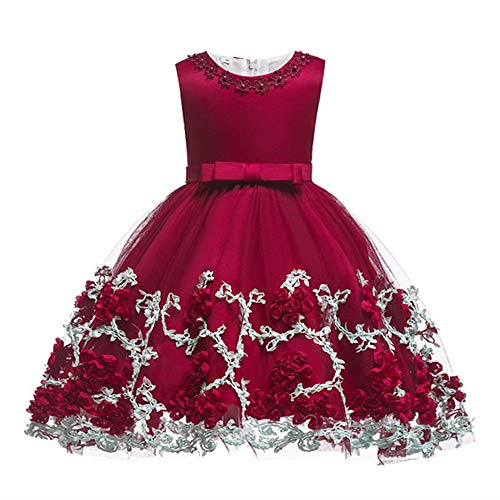 XIPAI Cute Princess Dress for Girls Big Bow-Knot Back Zipper Christmas Fashion Gown Dresses for Special Occasion Birthday Wedding Party First Communication 12-18 Months Wine Red
