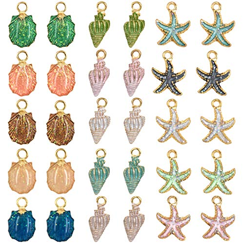 (30 PCS Colors Enamel DIY Jewelry Necklace Bracelet Pendants, Charms Conch Starfish Sea Shell Mixed for Jewelry Making (30PCS C))