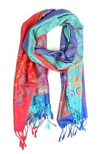 Sakkas CHS1610 - Tricia Multi-Colored Silky Butterfly Pashmina/ Shawl/ Wrap/ Stole - 2-RoyalRed - OS