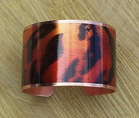 Tiger Striped Copper Cuff Bangle Bracelet Handmade Adjustable in Gift Box - Revere Copper Brass