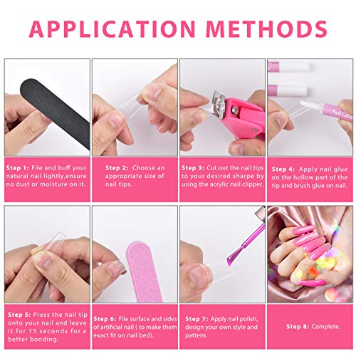 Clear Acrylic Nail Tips,MORGLES 500 Pcs Coffin Nails Clear Fake Nails Half Cover French False Nail Tips with Glues 1Pc Nail Clipper Cuticle Pusher and Fork,3Pcs Nail Files with Case