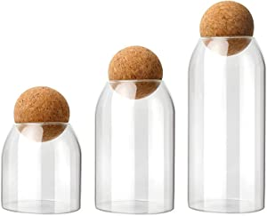Glass Jar with Cork Ball, Glass Food Storage Canister with Airtight Cork Lid ,Different Sizes Glass Jar with Wood Lid for Coffee Cookie Spices Tea 3-Piece Set