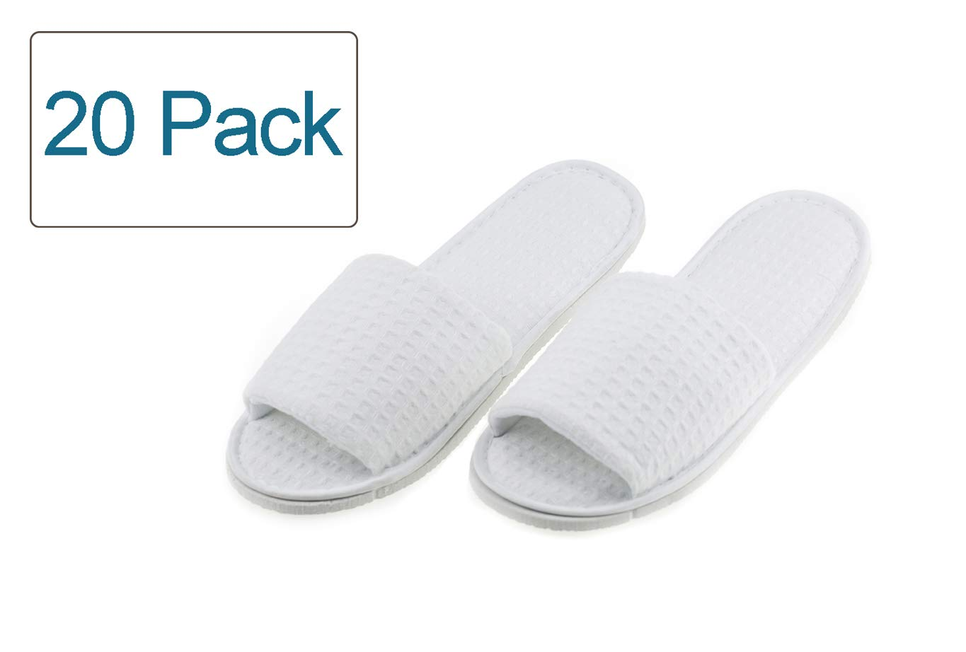 Luxehome White Terry Open Toe Spa Slippers, 20 Pairs per Case