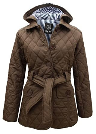 ENVY BOUTIQUE WOMENS QUILTED PADDED BUTTON HOODED WINTER BELTED ...
