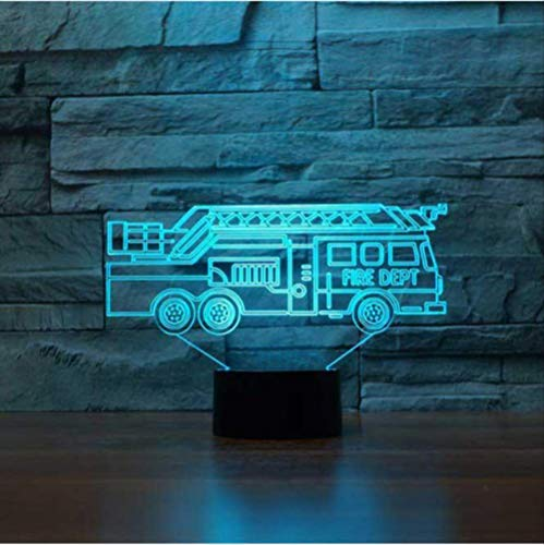 Buntes 3D Nachtlicht Fire Truck Led Touch Switch Table Lamp Usb 7 Color Room Car Colorful Led Lighting For Kid'S Toy…