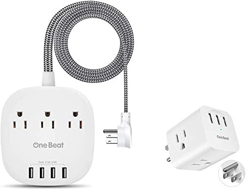 Power Strip and Multi Plug Wall Outlet Bundle, Right Angle Flat Plug, 5Ft Braided Extension Cord for Cruise Ship Office etc, ETL Listed
