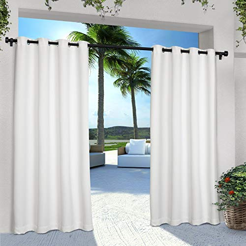 Exclusive Home Curtains Indoor/Outdoor Solid Cabana Window Curtain Panel Pair with Grommet Top, 54x108, Winter White, 2 Piece