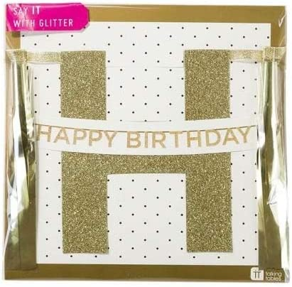 Gold SAY-HB 11.5 Ft. for a Birthday Talking Tables Say It With Glitter Hanging Happy Birthday Banner with Tassels