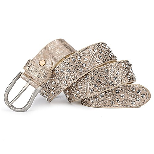Gold Studded Belt - YAMEZI Women's Gold Retro PU And Cow Composite Rhinestone Studded Rivets Belt (Gold)