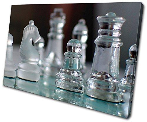 Bold Bloc Design – Hobbies Glass Chess Pieces – 135x90cm Caja de lámina de arte lienzo enmarcado foto del colgante de…