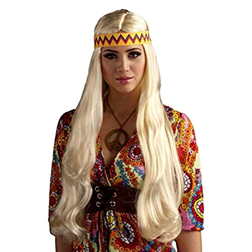 Forum Novelties Women's 60's Generation Hippie Chick Costume Wig with Headband, Blonde, One Size ()