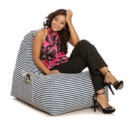 Wondrous Style Homez Hackey Cotton Canvas Stripes Printed Bean Bag Xxl Size With Beans Machost Co Dining Chair Design Ideas Machostcouk