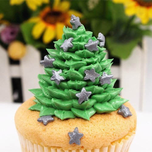 Natural Silver Gluten GMO Nuts Dairy Soy Free Star Shape Christmas Confetti Bulk Pack. by Quality Sprinkles