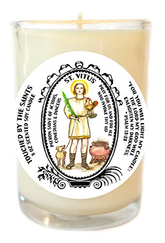 Saint Vitus for Actors, Comedians, Dancers 8 Oz Scented Soy Glass Prayer Candle by Touched By The Saints