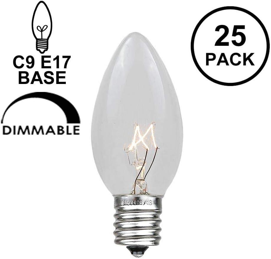 Novelty Lights 25 Pack C9 Outdoor Christmas Replacement Bulbs, Clear, E17/C9 Intermediate Base, 7 Watt…