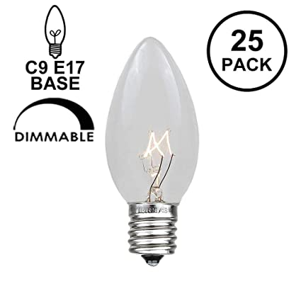 novelty lights 25 pack c9 outdoor christmas replacement bulbs clear e17c9 base