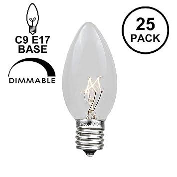 Novelty Lights, Inc. C9-7-CL Incandescent Transparent Christmas Replacement  Bulbs, Clear, E17/C9 Intermediate Base, 7 Watt, 25 Pack - - Amazon.com - Novelty Lights, Inc. C9-7-CL Incandescent Transparent Christmas