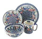 Polish Pottery Garden Butterfly 4 Piece Dinner Set