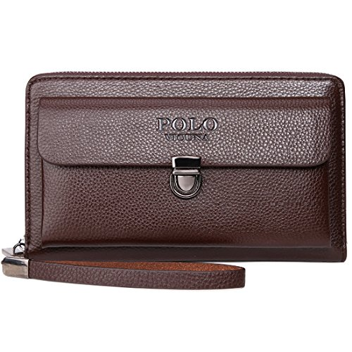 Clutch Polo - VICUNA POLO Men Clutch Bag Antitheft Buckle Clutch Wallet for Men Handbag (brown)