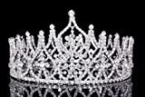 4'' Tall Beauty Pageant Queen Royal Full Crown - Silver Plated Clear Crystals T1015
