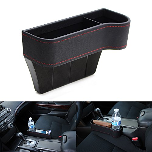 iJDMTOY (1) Black Leather Console Side Pocket Organizer, Car Seat Catcher w/ Cup Holder For Drinks, Key, Wallet, Phone, Sunglasses, etc (Storage Trunk Pods Pocket)