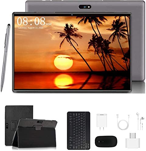 Android Tablet 10 inch, Tablet with Keyboard Mouse, 3GB RAM 32GB ROM/128GB, Android 9.0 Pie, Dual SIM 4G, 8MP Camera, 8000mAh, Quad Core, OTG, GPS, Bluetooth, WiFi, Google Certified Tablet (Gray)