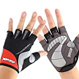 YOKGO Cycling Gloves Mountian Bike Gloves Half Finger Pad Bike Sporting Red Large