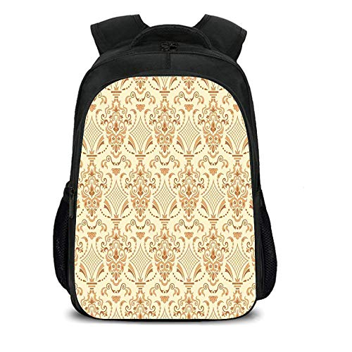 iPrint 15.7'' School Backpack,Beige,Victorian Patterns in Retro Style Antique Design Classical Old World Motifs Artwork Decorative,Sand Beige,for Teenagers Girls Boys by iPrint