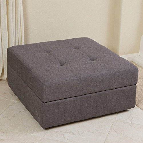 Best Selling Cedar Fabric Storage Ottoman, Brown Grey