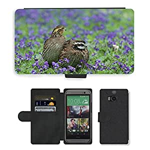 Hot Style Cell Phone Card Slot PU Leather Wallet Case // M00114290 Virginianus Colinus Bobwhite Northern // HTC One M8