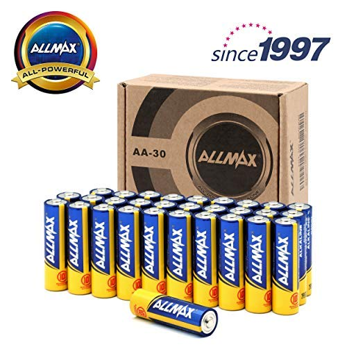ALLMAX All-Powerful Alkaline Batteries- AA (30-Pack), Ultra Long Lasting, Leakproof, 1.5V Cell