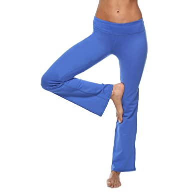 d4e36b14e5d68 GMIFUN Women's Bootcut Throw Back Yoga Pants Long Bootleg Flare Pants with  Pocket (S,