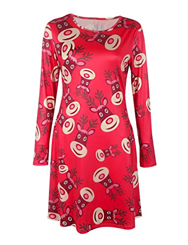 Svasato Donne Rosso Variopinta Modello Pullover Casa Vestito Delle Della Natale Di Un Linea Eq8wgq