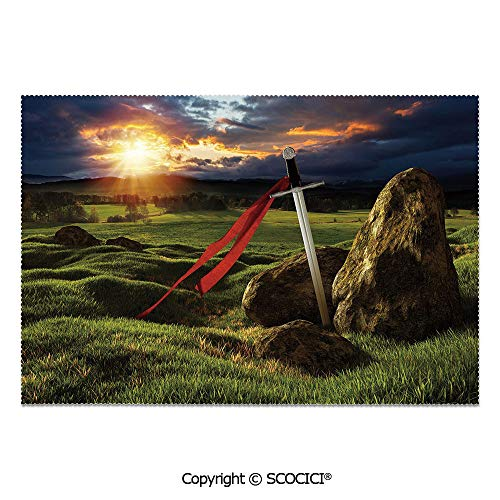 SCOCICI Set of 6 Durable Polyester Place Mats Heat Resistant Table Mats Arthur Camelot Legend Myth in England Ireland Fields Invincible Sword Image for Party Kitchen Dining Table (Vintage Ireland Furniture Garden)
