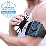 VUP Running Armband [All Screen Friendly, Detachable and 360°Rotatable] for iPhone Xs Max/Xs/XR/ 8 Plus/ 7 Plus/ 6s Plus/ 6, Galaxy S10 Plus/ S9 Plus/ S8/ A8 Plus, Note 4/5/8/9, Google Pixel 3/2 XL