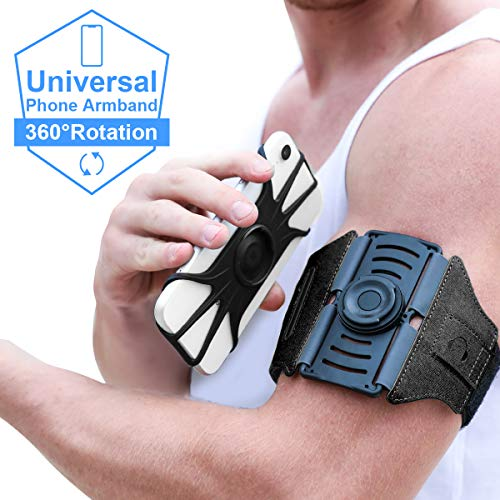 VUP Running Armband [All Screen Friendly, Detachable and 360°Rotatable] for  iPhone Xs Max/Xs/XR/ 8 Plus/ 7 Plus/ 6s Plus/ 6, Galaxy S10 Plus/ S9