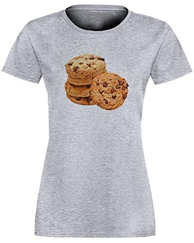 Biscuit Gris Coton Femme T-shirt Col Ras Du Cou Manches Courtes Grey Women's T-shirt
