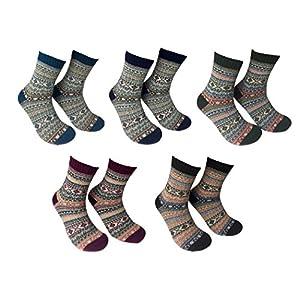Men's Warm Colorful Winter Socks (5 Pairs) (Stripes), Men's U.S. Shoe Sizes 6-10