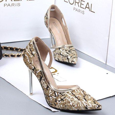 La Zapatos GAOLIM Talón Tacón Solo Delgado De Alto 10Cm Los Zapatos De Y Alto De Verano Golden Superficialmente El Primavera dSFxnBS