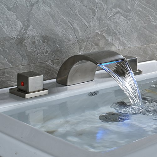 Waterfall Two Light (Rozin LED Light Waterfall Spout Basin Faucet Widespread 2 Suqare Knobs Sink Mixer Tap Brushed Nickel)