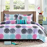 Mizone Audrina Polka Dot Comforter Set 3 piece - Children's Bedding - Abstract Circles in Bright Shades of Pink, Teal, Purple and Black - Twin/Twin XL: Size 66x90''; sham is 26x20''; decorative pillow is 18x10''