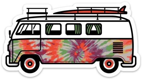 """VW Surf Van Bus Sticker Decals Large 5"""" x 2.73"""" Tie Dye Peace Bus Sticker Hippie Decal"""